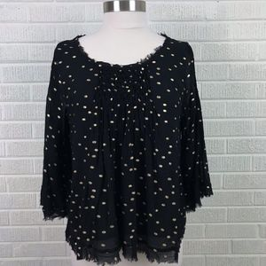 Anthropologie Floreat Ever After Bell Sleeve Top L
